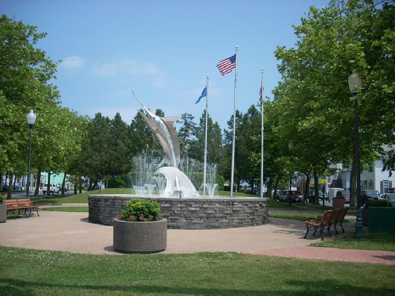 White Marlin sculpture in fountain at Ocen City, Maryland