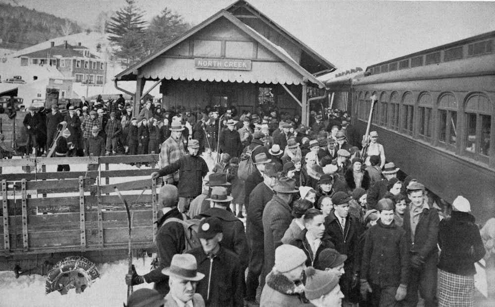 1930s snow train arrives at North Creek Depot.in Adirondack Mountains