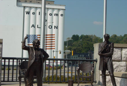 Statures of Linclon and Steven Douglan in Alton, Illinois