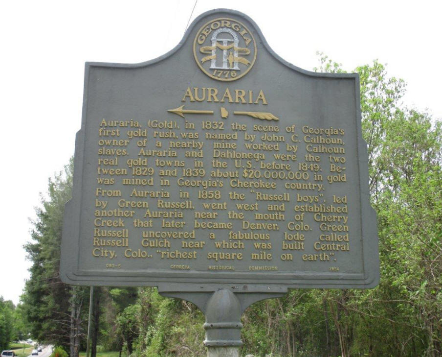 Sign marker for Auraria near Dahlonega, GA