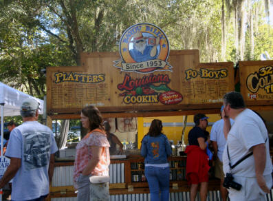 Bayou Bily's Louisiana food booth at Micanopy Fall Festival
