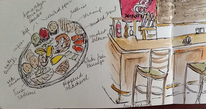 Anne Jenkins sketch of cold seafood platter in Tom's Seafood in downtown Detroit