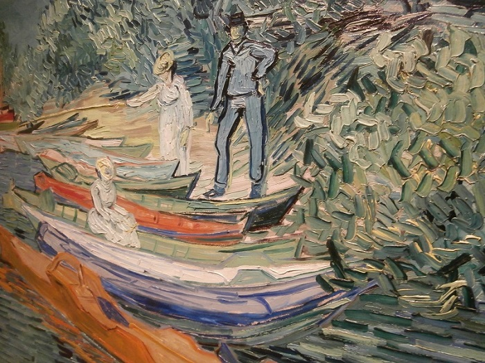 Van Gogh boating painting in Detroit Institute of Art detail - just look at the texture