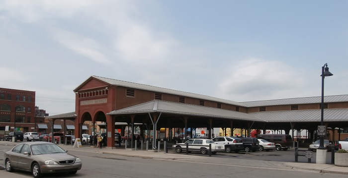 Detroit's Eastern Market area with old market stall building
