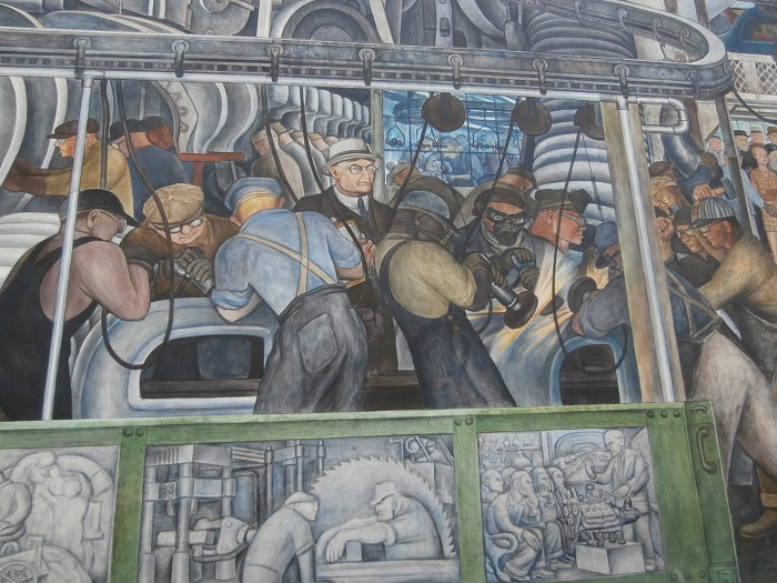 Another close up of the Diego Rivera mural in Detroit Institute of Art featuring Henry Ford