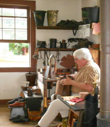 Leather worker  at Landis Valley Village and Farm Museum located near Lancaste