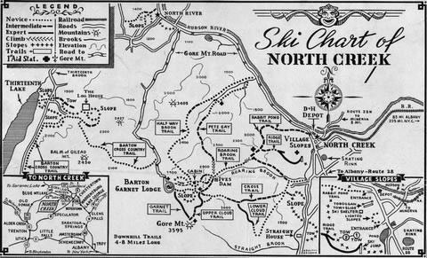 Old map of Gore ski trails in Adirondack Mountains