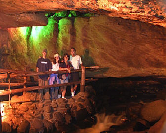 Inside Noisy cave at Natural Stone Bridge and Caves in Pottersville, New York