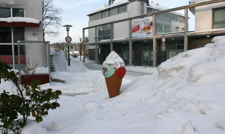 Ice Cream cone in snow
