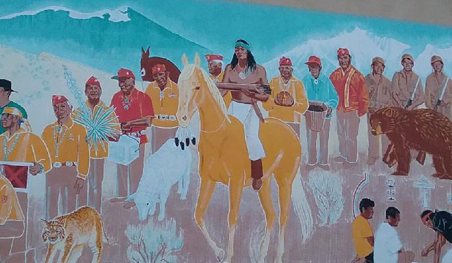 Mural of Navahjo Code Talkers in WWII