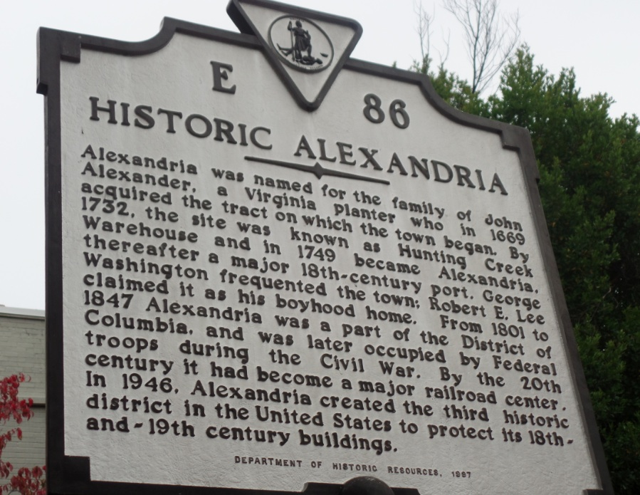 Sign at Alexandria, Virginia about the founding and naming of the twon for John Alexander