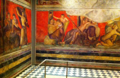 The replica of the room from the Villa of the Mysteries in Pompeii, Italy at the University of Michigan Museum of Art.