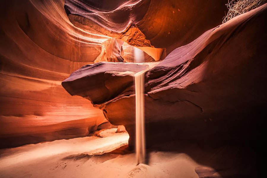 inside of  one of the slot canyons in Page, AZ