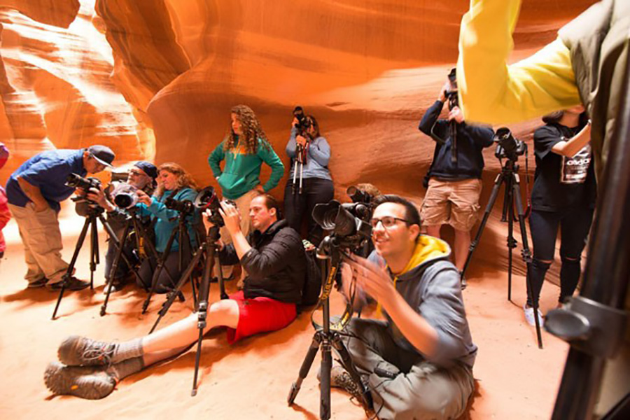 Group of photographers prepare to shoot in slot canyons in Page, AZ