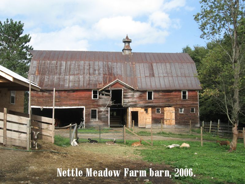 Nettle Meadow barn in 2006 with rescued animals in frotn
