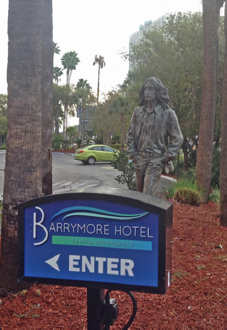 Sculpture of John Lennon outside barrymore hotel