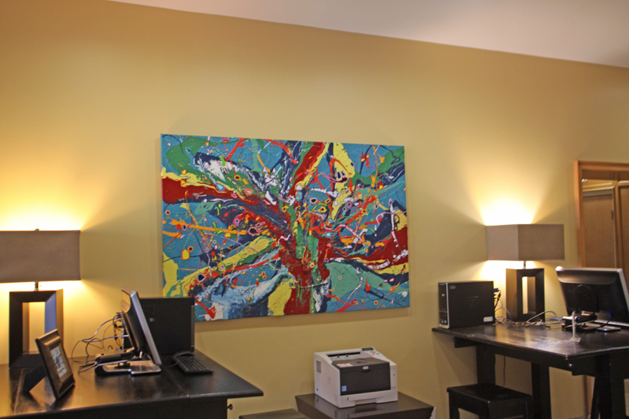 Colorful art by Ray Paul in business center of Barrymore Hotel in Tampa
