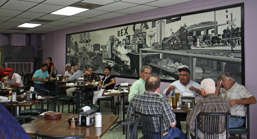 Rex Café on its inside wall depicting life in McAllen