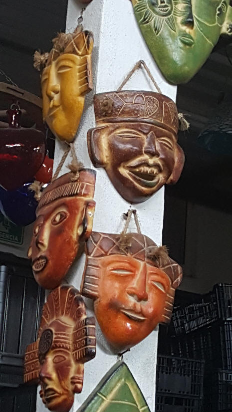 masks honging on a post at Los Cabos