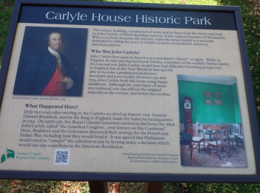 Sign about history of Carlyle House  at Alexandria, Virginia