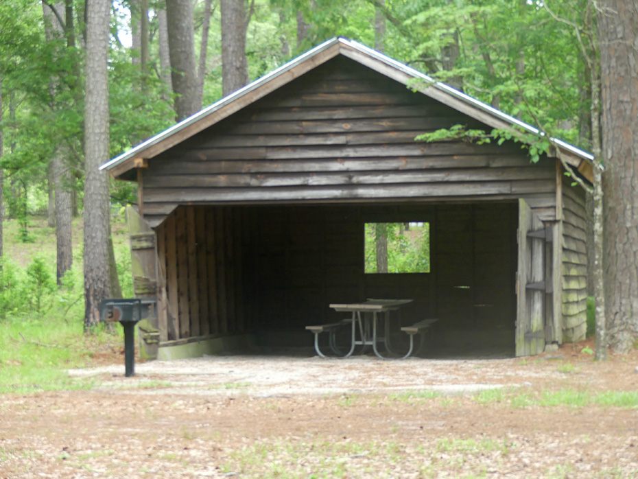 Garage turned to picnic shelter at Carvers Creek State Park