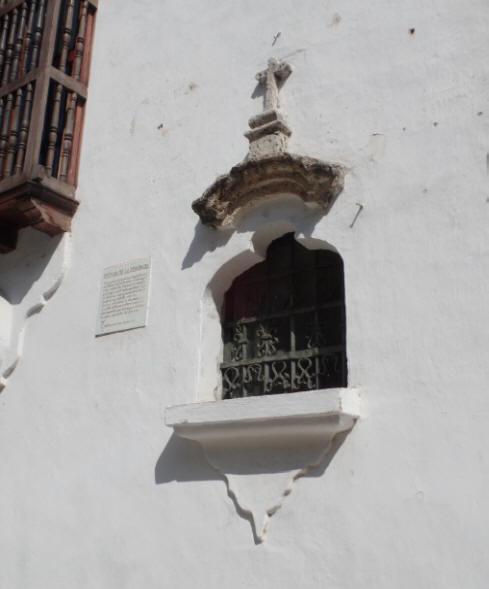 Heritic's Window at  Palace of Inquisition in Cartagenga, colombia