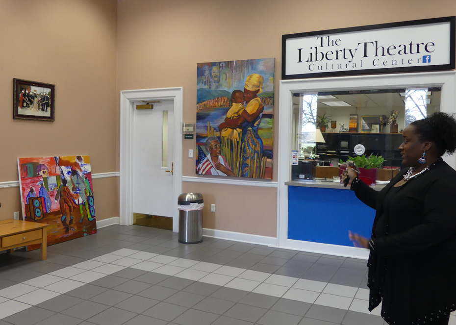 Director shows the lobby of Liberty Theater