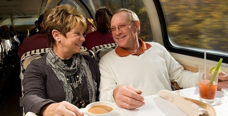 couple dining on snow train in Adirondack Mountains