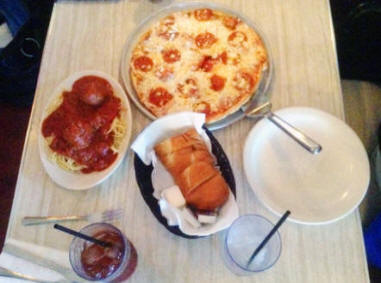 Meatballs and spagetti and pizza at Luigi's in Augusta Georgia