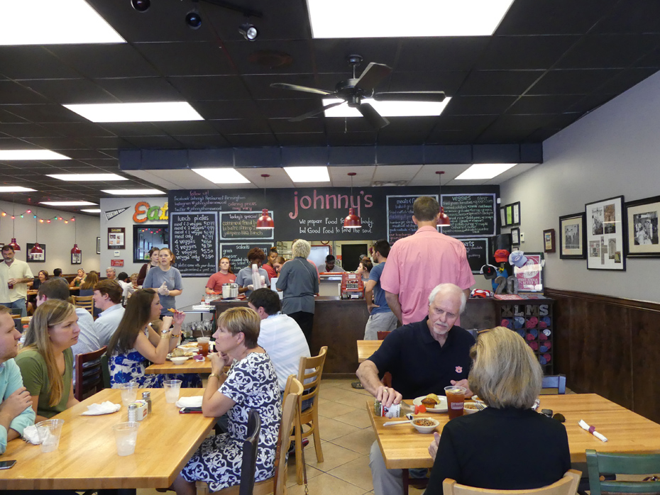 Customers dining at Johnny's Restaurant in Homewood, AL