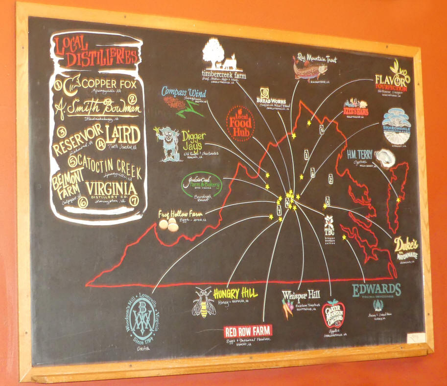 Blackboard showing where food and shiskey comes from at Whiskey Jar