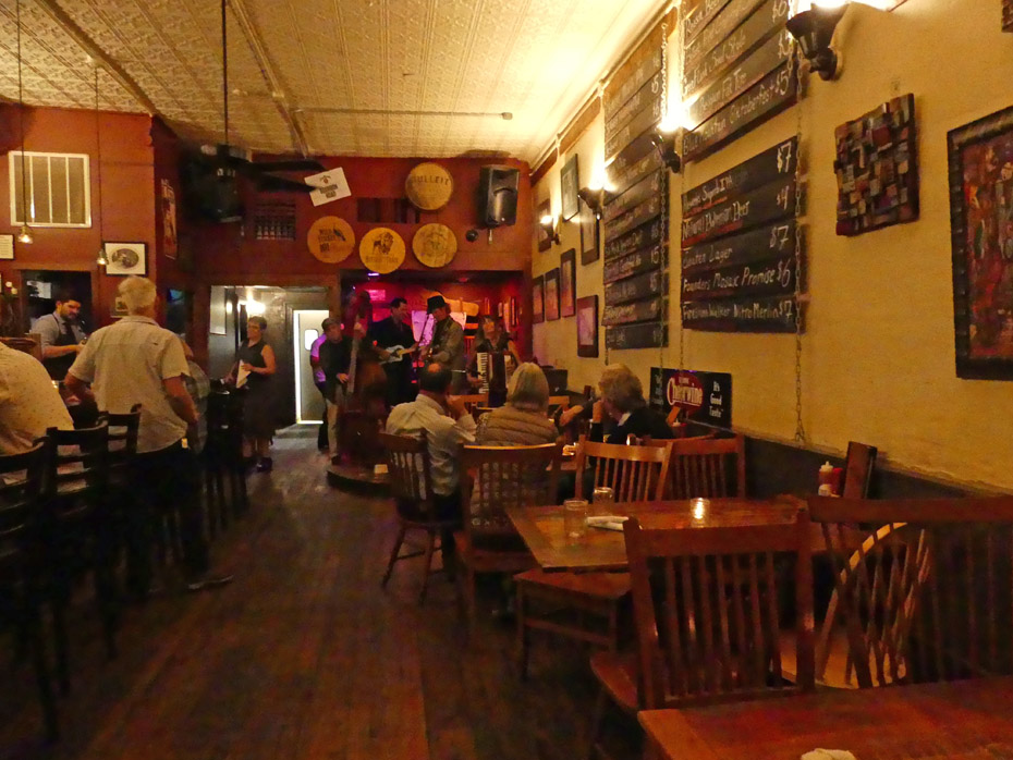 band and tables with diners at Whiskey Jar in Historic Downtown Mall in Charlottesville