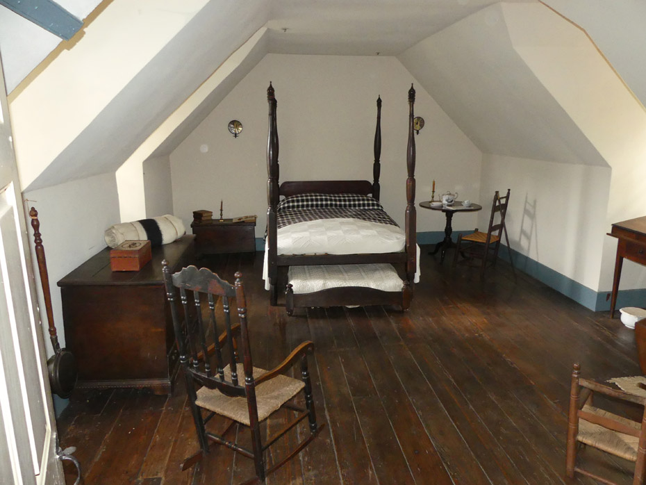 Typical upscale guest room in 1800s at Michie Tavern in Charlottesville, VA