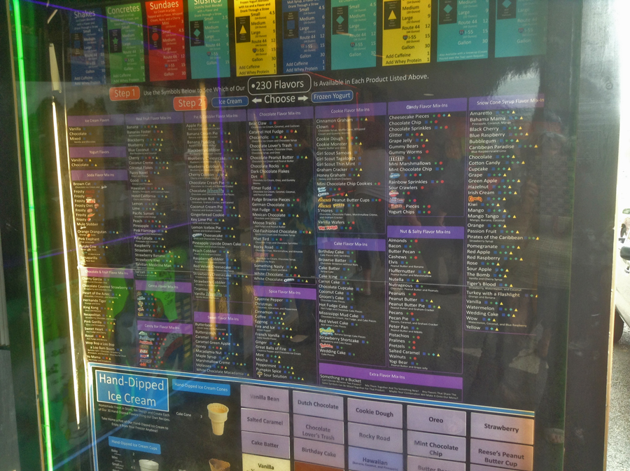 Sign wiht list of ice cream flavors at Velvet Cream in Hernando, Mississippi