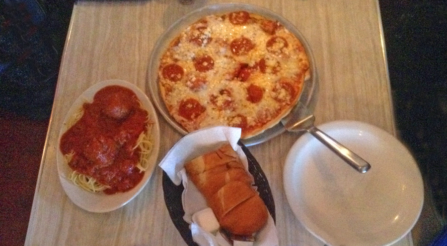 Pizza and spagetti and meatballs with bread at Luigi's in Augusta, Georgia