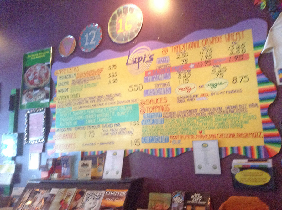 Colorful price sign at Lupi's Pizza in Chattanooga