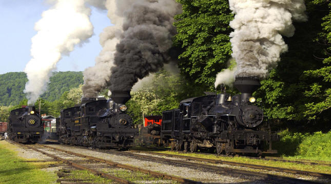 Several vintage locomotives at Cass Railroad State Park in Pocahontas County, West Virginia