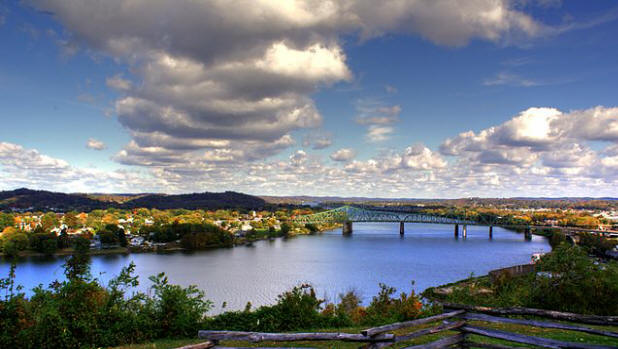 Overlook for battlefield site at Fort Boreman park in West Virginia