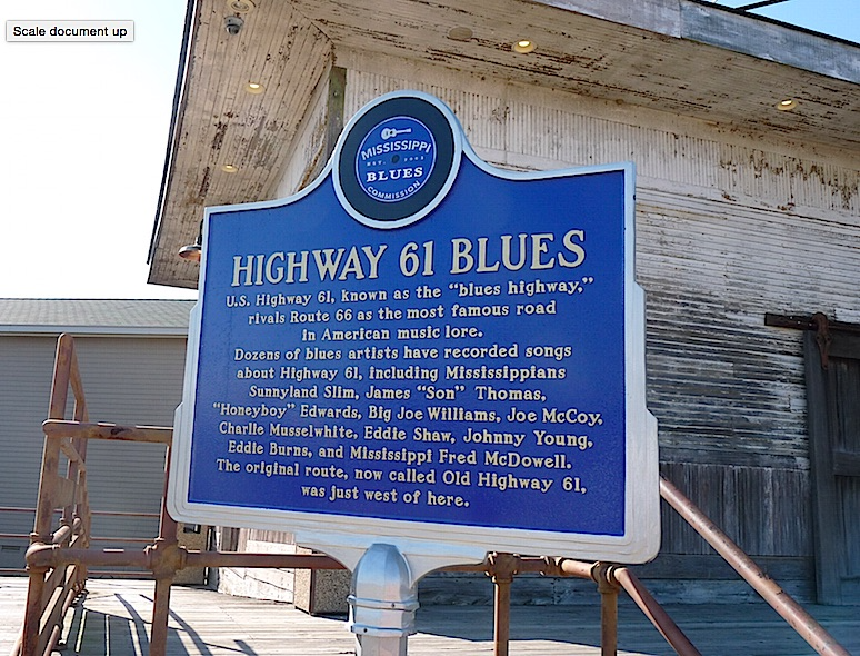 Hwy 61 Blues sign at Tunica Visitors center