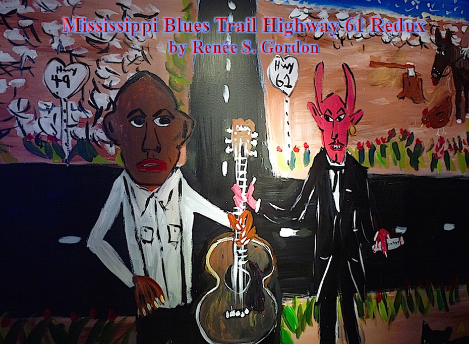 Painting of Robert Johnson selling his soul to the devil