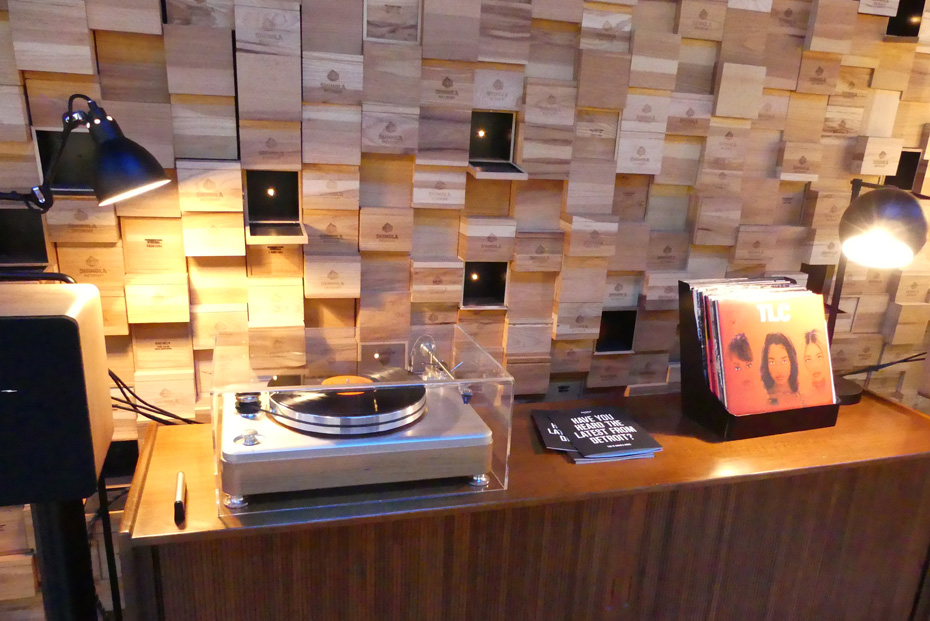 Turntable and albums at Shinola