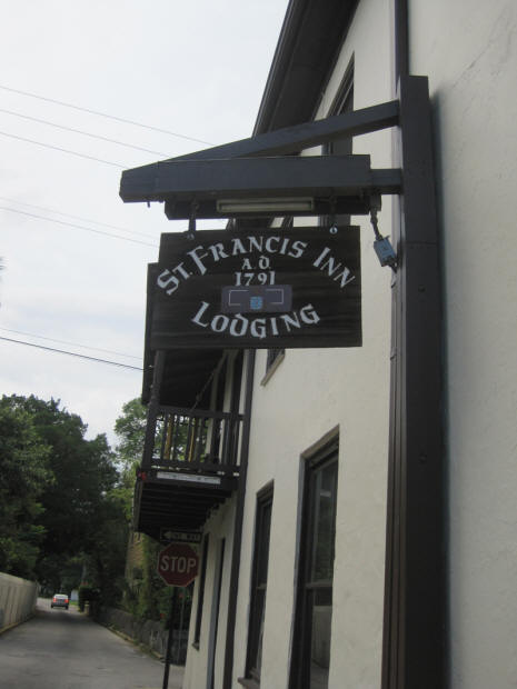 Sign on St. Francis Inn in St. Augustine