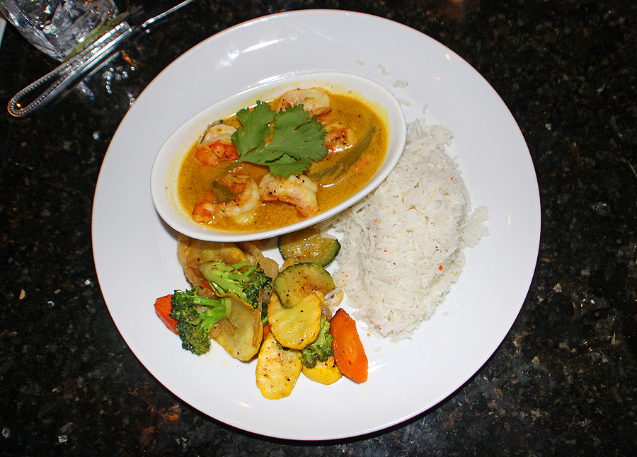 Shrimp Coconut, veggies and rice Nefetari's Fine Cuisine & Spirits in Tallahassee