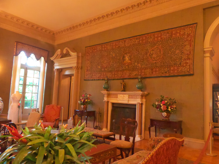 The mantle and fireplace in Filoli's eception Room