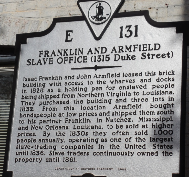 sign at Franklin and armfield house at Alexandria, Virginia