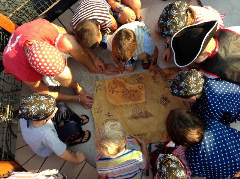 Group of children prepare to take part in a Pirate adventure onboard Sea Gypsyin Annapolis