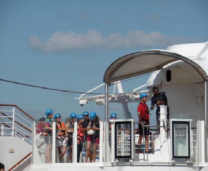 Passengers preparing to zipline on Harmony of the Seas