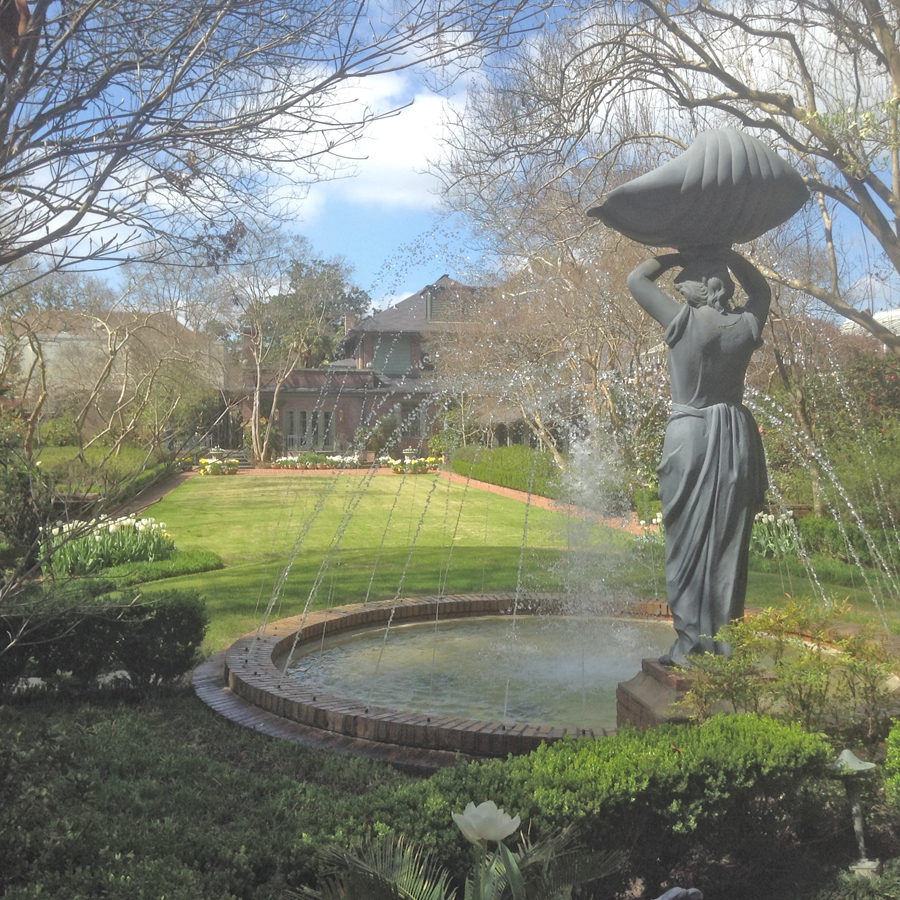 Stature and fountain in garden at Biedenharn Museum and Gardens  In Monroe, Louisiana