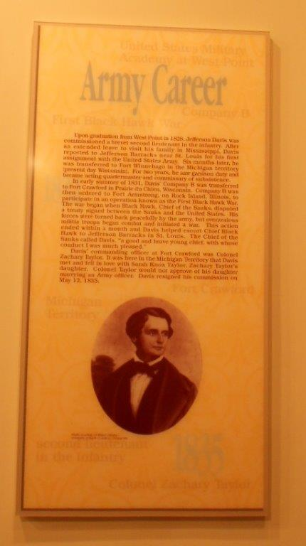 sign about Jefferson Davis army career