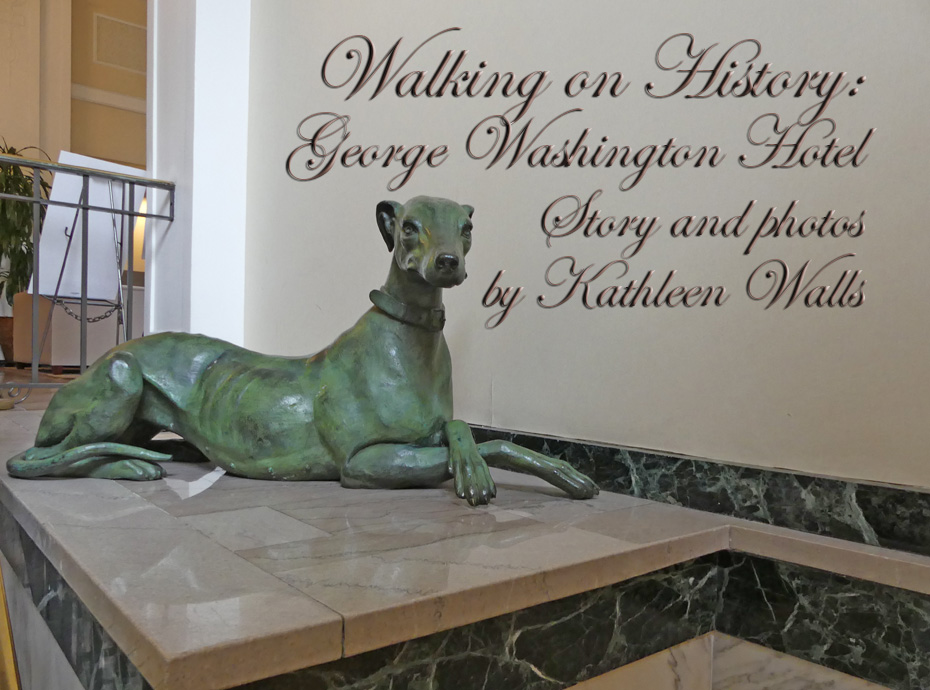 lobby of George Washington Hotel in Winchester, VA with stature of greyhound